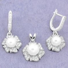 9.72cts natural white pearl topaz 925 silver pendant earrings set a87946