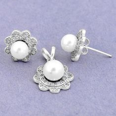 925 silver 7.03cts natural white pearl topaz pendant earrings set a87947