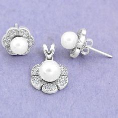 7.66cts natural white pearl topaz 925 silver pendant earrings set a87952