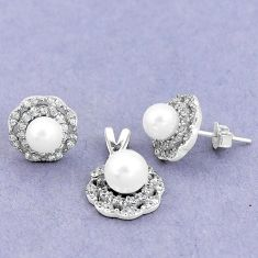 7.36cts natural white pearl topaz 925 silver pendant earrings set a87958