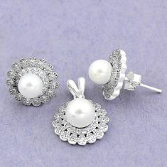 8.54cts natural white pearl topaz round 925 silver pendant earrings set a90605