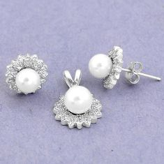 7.54cts natural white pearl topaz round 925 silver pendant earrings set a90607