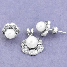 7.29cts natural white pearl topaz round 925 silver pendant earrings set a90615