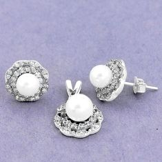 7.89cts natural white pearl topaz round 925 silver pendant earrings set a90616