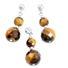 33.64cts natural brown tiger's eye 925 silver pendant earrings set a94858