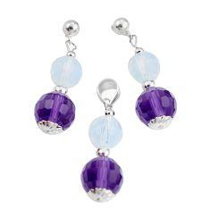 925 silver 38.05cts natural purple amethyst opalite pendant earrings set a94859