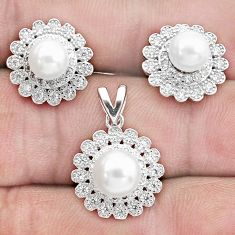 9.63cts natural white pearl topaz 925 silver pendant earrings set a96442
