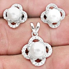 9.47cts natural white pearl topaz 925 silver pendant earrings set a96454
