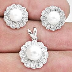 10.55cts natural white pearl topaz 925 silver pendant earrings set a96456