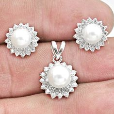 7.04cts natural white pearl topaz 925 silver pendant earrings set a96483