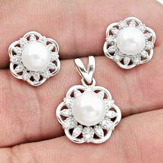 9.47cts natural white pearl topaz 925 silver pendant earrings set a96492