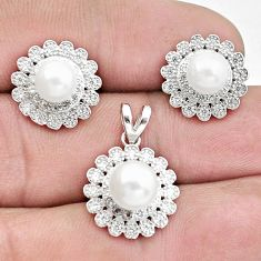 925 silver 11.27cts natural white pearl topaz pendant earrings set a96494