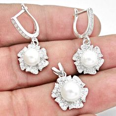 11.97cts natural white pearl topaz 925 silver pendant earrings set a96496