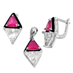 14.22cts red ruby (lab) topaz enamel 925 silver pendant earrings set a96952