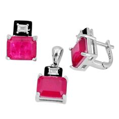 13.22cts red ruby (lab) topaz enamel 925 silver pendant earrings set a96954