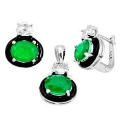 13.89cts green emerald (lab) topaz enamel 925 silver pendant earrings set a96955