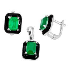 5.42cts green emerald (lab) enamel 925 silver pendant earrings set a96959