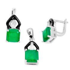 11.83cts green emerald (lab) topaz enamel 925 silver pendant earrings set a96982