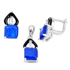 9.89cts blue sapphire (lab) topaz enamel 925 silver pendant earrings set a96992