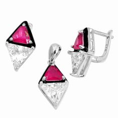 925 silver 15.74cts red ruby (lab) topaz enamel pendant earrings set a96997