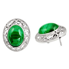 23.15cts natural green malachite (pilot's stone) 925 silver earrings c5462