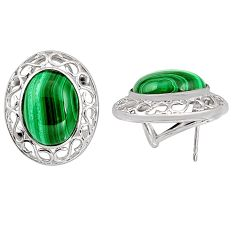 22.13cts natural green malachite (pilot's stone) 925 silver earrings c5463