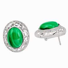 22.92cts natural green malachite (pilot's stone) 925 silver earrings c5464