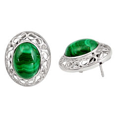 22.92cts natural green malachite (pilot's stone) 925 silver earrings c5465
