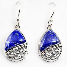 7.13cts southwestern natural blue lapis lazuli 925 silver earrings c5662