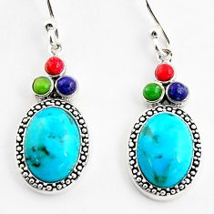 7.67cts southwestern multi color copper turquoise 925 silver earrings c5668