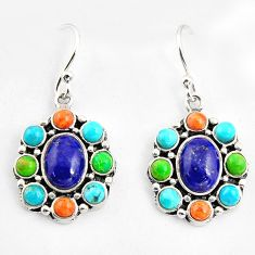 925 silver 9.47cts southwestern multi color copper turquoise earrings c5669
