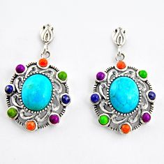 925 sterling silver 8.44cts southwestern green copper turquoise earrings c5679