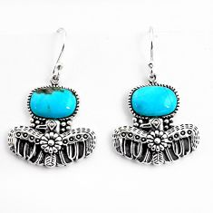 925 sterling silver 11.05cts southwestern blue copper turquoise earrings c5686