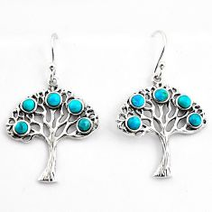 4.29cts southwestern blue copper turquoise silver tree of life earrings c5688