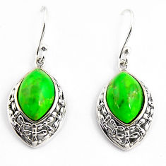 8.12cts southwestern green copper turquoise 925 sterling silver earrings c5692