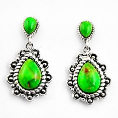 6.36cts southwestern green copper turquoise 925 sterling silver earrings c5699