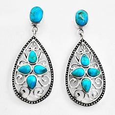 6.63cts southwestern blue copper turquoise 925 sterling silver earrings c5700