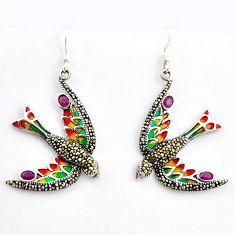 4.69gms natural white marcasite enamel 925 sterling silver bird earrings c5761