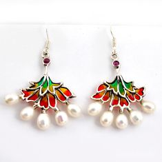 12.96cts natural white pearl ruby enamel 925 sterling silver earrings c5762