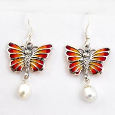 4.89cts natural white pearl enamel 925 sterling silver butterfly earrings c5763