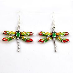 925 silver 1.96cts natural green emerald enamel dragonfly earrings c5764