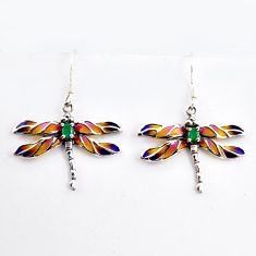 1.96cts natural green emerald enamel 925 silver dragonfly earrings c5765