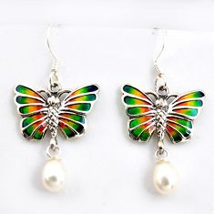 4.83cts natural white pearl enamel 925 sterling silver butterfly earrings c5767
