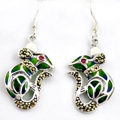 0.72cts natural red ruby marcasite enamel 925 sterling silver earrings c5768