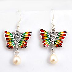 925 sterling silver 4.83cts natural white pearl enamel butterfly earrings c5769