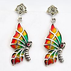 0.25cts natural red ruby marcasite enamel 925 silver butterfly earrings c5772
