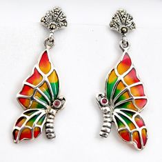 0.25cts natural red ruby marcasite enamel 925 silver butterfly earrings c5773