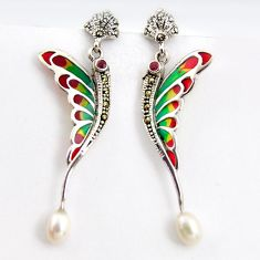 8.77cts natural white pearl marcasite enamel 925 silver dragonfly earrings c5775