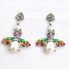 9.63cts natural white pearl marcasite enamel 925 silver honey bee earrings c5776