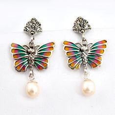6.38cts natural white pearl marcasite enamel 925 silver butterfly earrings c5777